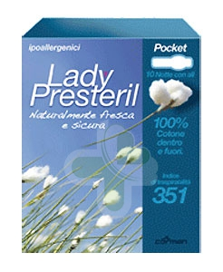 Lady Presteril Linea Pocket Assorbente Puro Cotone 10 Assorbenti Notte con Ali