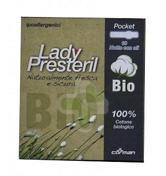 Lady Presteril Linea Pocket Bio Assorbente Puro Cotone 10 Assorbenti Notte Ali